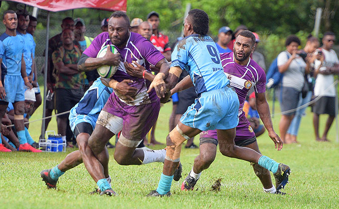 Pio Tuwai of Life after Rugby on attack against Boarderline Blues during Marist Sevens at Bedesi Park on March 26, 2021. Photo: Ronald Kumar.