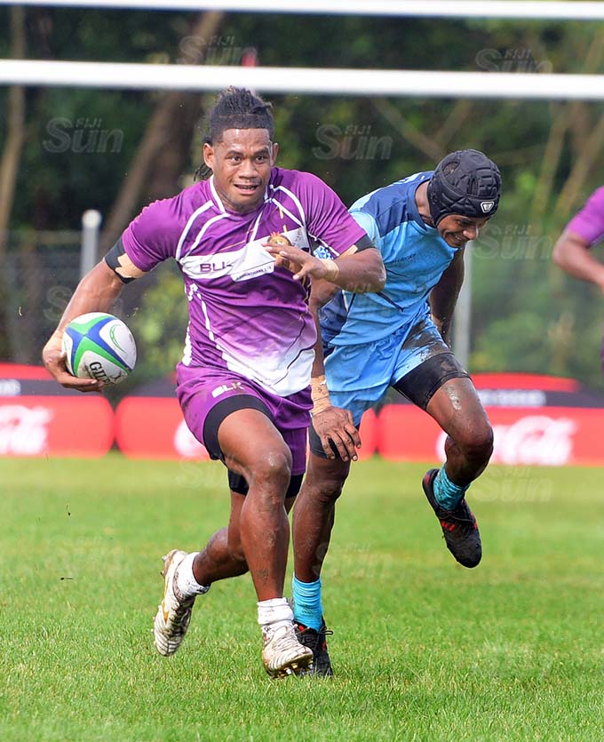 Manu Maisamoa of Life after Rugby runs in for a try against Boarderline Blues during Marist Sevens at Bedesi Park on March 26, 2021. Photo: Ronald Kumar.