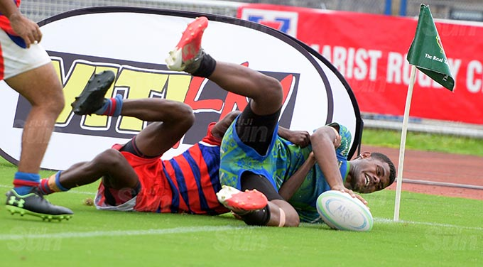 Penisoni Kitou of Seniboro Brothers score their final try against Marist during Marist Sevens under 21 games at ANZ Stadium on March 25, 2021. Photo: Ronald Kumar.