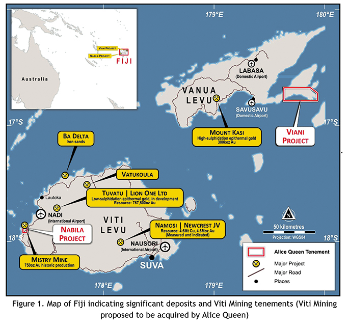 Prospective mineral exploration sites in Fiji.