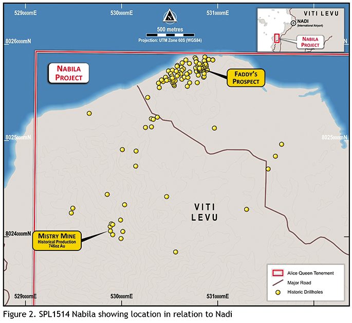Map of the Nabila mineral exploration site from Mistry Mine and Faddy's Prospect.