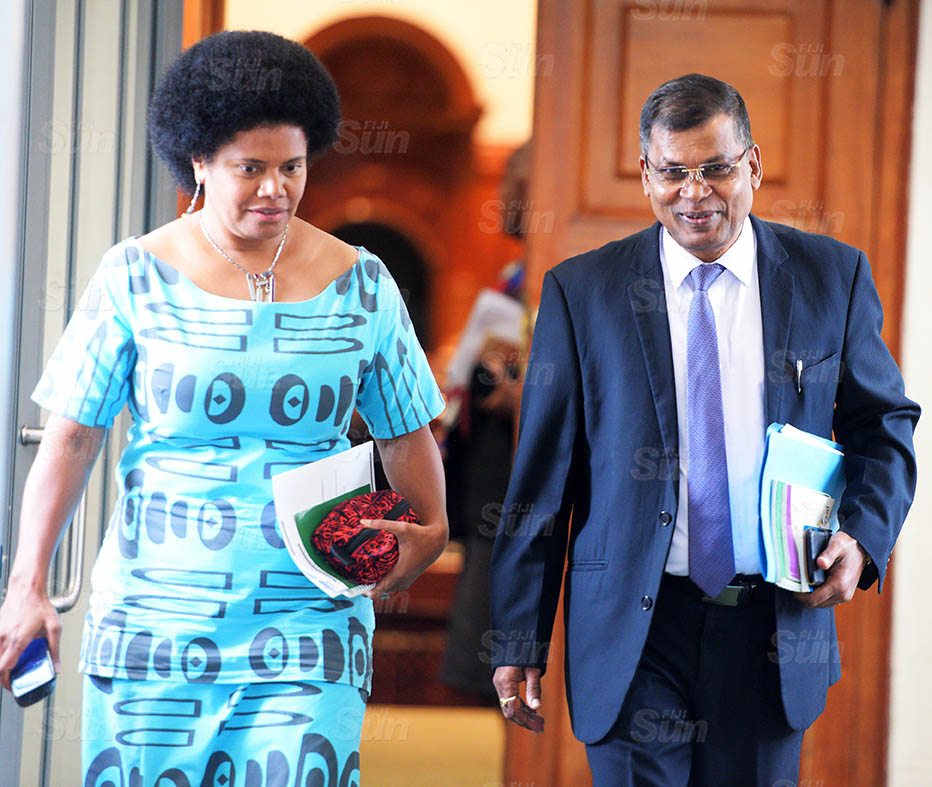 Opposition Member of Parliament Lenora Qereqeretabua and Biman Prasad outside Parliament session on March 26, 2021. Photo: Ronald Kumar.