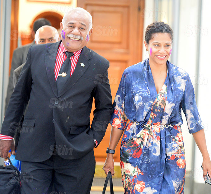 Opposition Members of Parliament Simione Rasova and Lynda Tabuya in colours of Holi outside Parliament on March 26, 2021. Photo: Ronald Kumar.