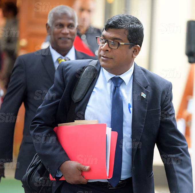 Minister for Agriculture Mahen Reddy outside Parliament session on March 26, 2021. Photo: Ronald Kumar.