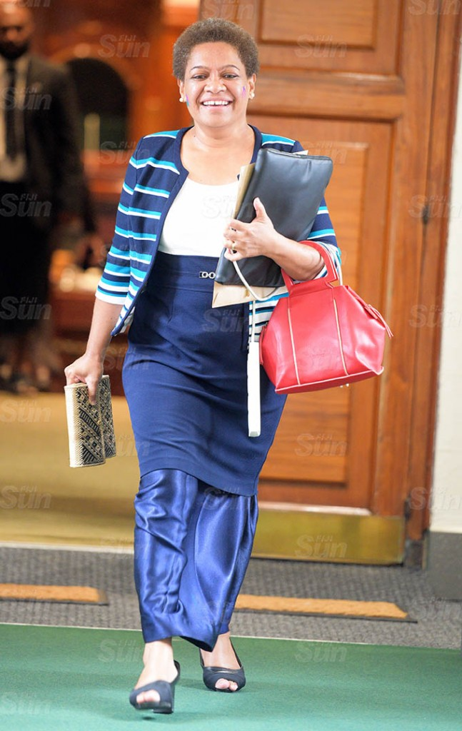 Minister for Women Meresaini Vuniwaqa outside Parliament session on March 26, 2021. Photo: Ronald Kumar.