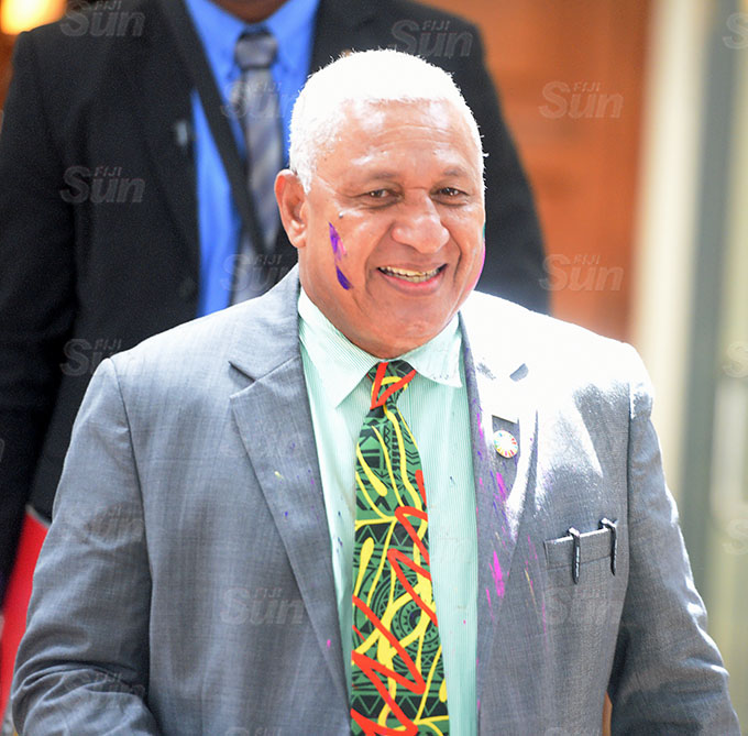 Prime Minister Voreqe Bainimarama in colours of Holi outside Parliament on March 26, 2021. Photo: Ronald Kumar.
