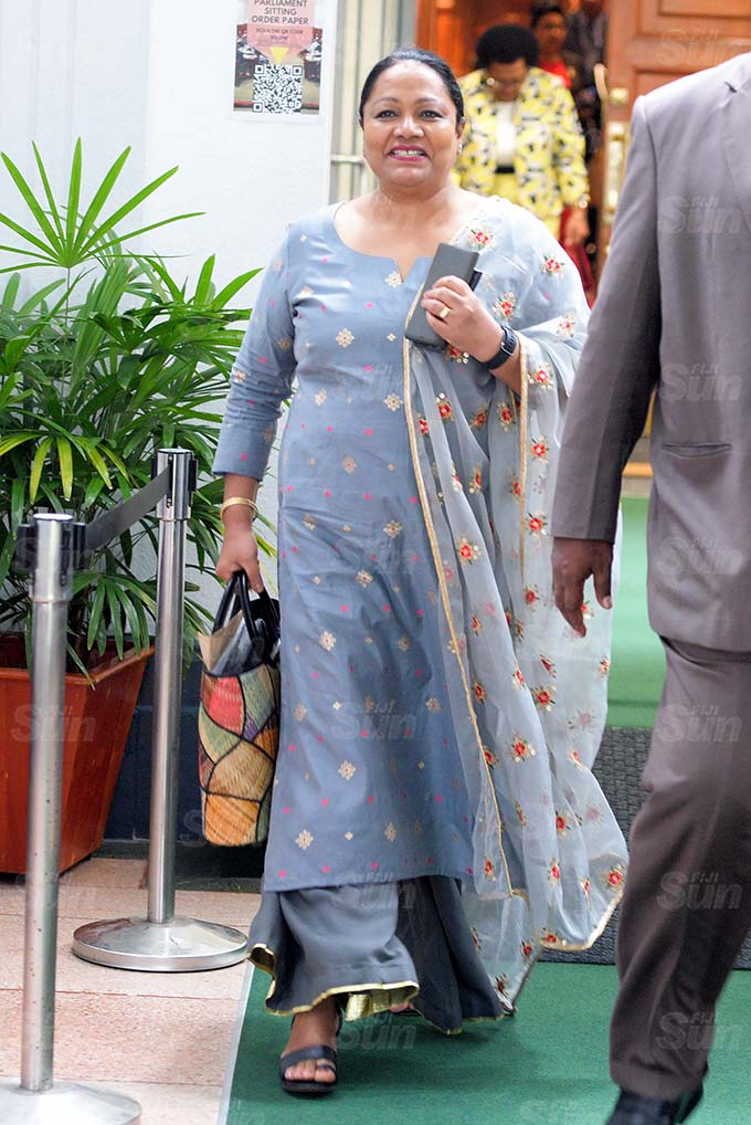Minister for Local Government Premila Kumar outside Parliament session on March 26, 2021. Photo: Ronald Kumar.