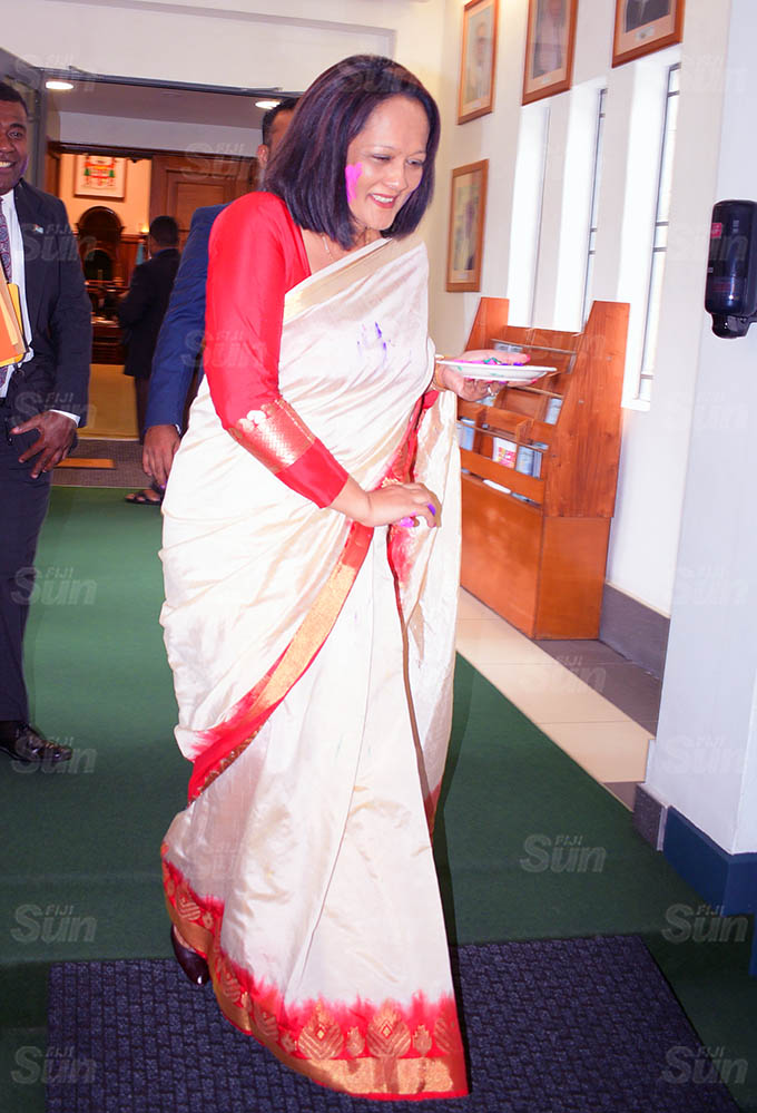 Minister for Education Rosy Akbar outside Parliament on March 26, 2021. Photo: Ronald Kumar.
