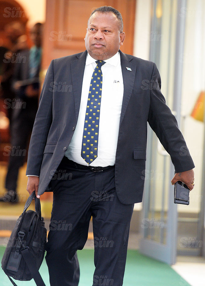 Minister for Defence Inia Seruiratu outside Parliament session on March 26, 2021. Photo: Ronald Kumar.