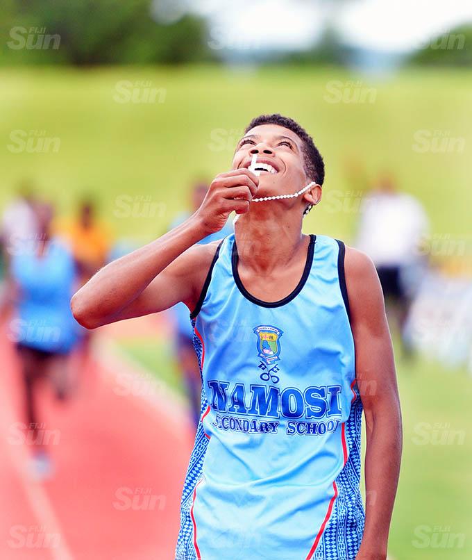 Iowane Viani of Namosi Secondary Schoo kiss his Rosary the thanks the Lorad for winning Suva Zone 1 3000meters final at ANZ Stadium on March 16, 2021. Photo: Ronald Kumar.