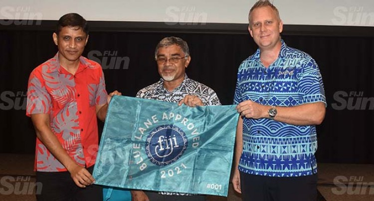 Tourism Fiji Hands Over Blue Lane Approved Burgee Flags