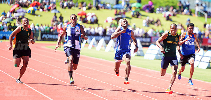Joshua Daudrauvuni (fourth from left) of RSMS won the 100meters senior boys final at ANZ Stadium on March 17, 2021. Photo: Ronald Kumar.