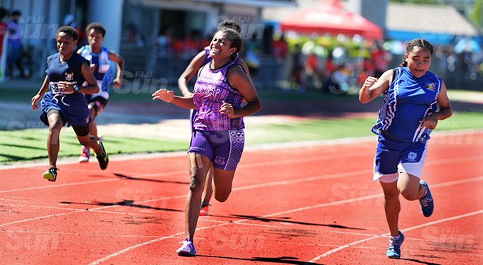 Filimena Nasilivata of Dudley High School won the 100meters senior girls final at ANZ Stadium on March 17, 2021. Photo: Ronald Kumar.