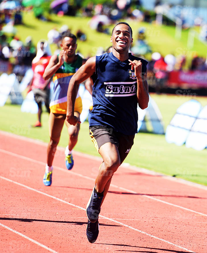Joeli Cagelaba of LDS College won the senior boys 400mters Zone 1 final at ANZ Stadium on March 17, 2021. Photo: Ronald Kumar.