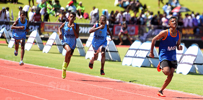Nirav Kumar of MGM (front) won the sub-junior boys 800meters final at ANZ Stadium on March 17, 2021. Photo: Ronald Kumar.