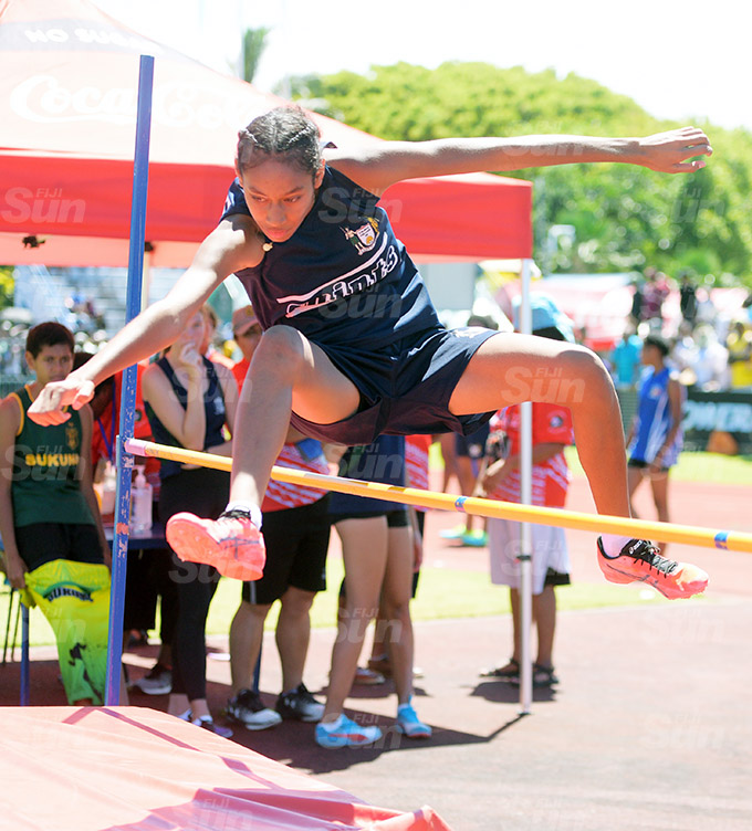 Angelica Qaqa of LDS during inter-girls high jump zone 1 final at ANZ Stadium March 17, 2021. Photo: Ronald Kumar.