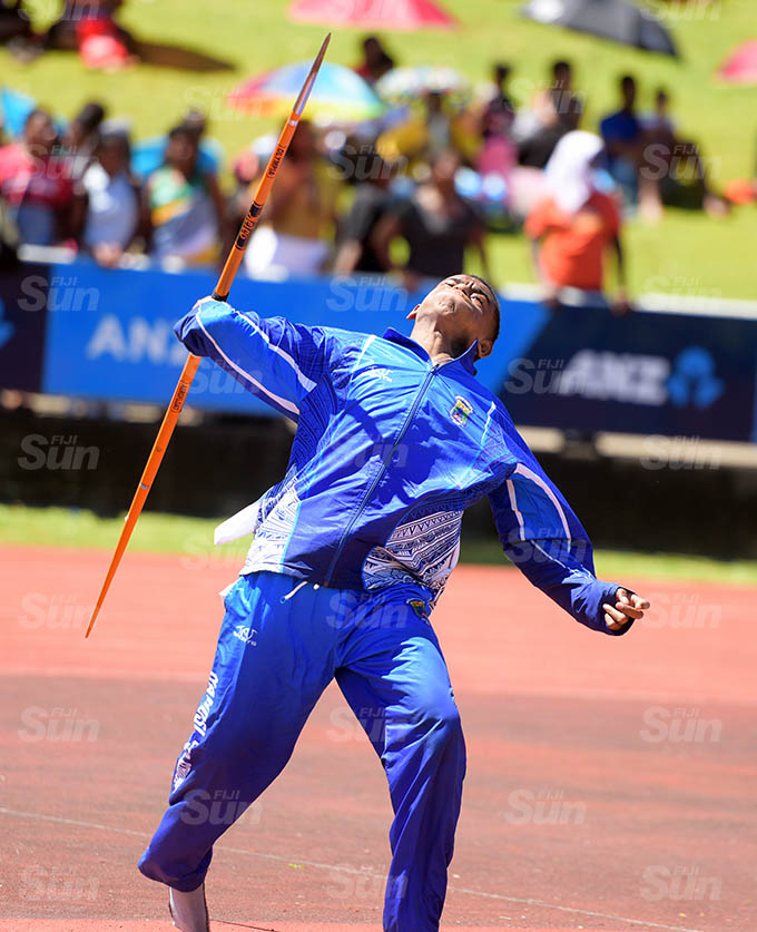 Onorio Vakatalesau of Namosi Seconadry during inter-boys javelin throw zone 1 final at ANZ Stadium March 17, 2021. Photo: Ronald Kumar.