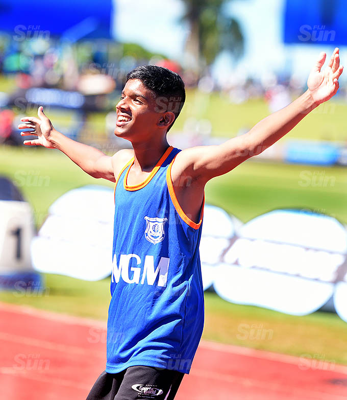 Nirav Kumar of MGM celebrate his 400meters sub-junior boys zone 1 finals at ANZ Stadium on March 17, 2021. Nirav also won the 800meters final. Photo: Ronald Kumar.
