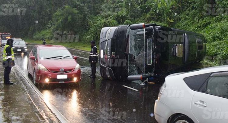 Driver Escapes Serious Injuries After Bus Tumbles Along Edinburgh Drive