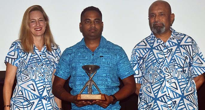 ANZ regional executive - Pacific Islands Tessa Price, Emerging Tourism Leader Outriggers' Navneeet Reddy and outgoing ANZ Fiji country head Saud Minan during the 2019 Annual ANZ FETA awards at the Sofitel Fiji Resort and Spa at the Sofitel Fiji Resort on March 19, 2021. Photo: Waisea Nasokia