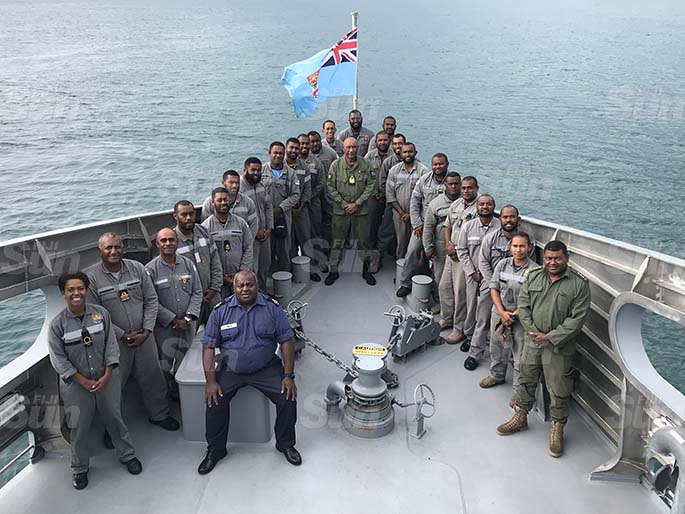 Crew members of the RFNS Savenaca pictured here with Republic of Fiji Military Forces Commander, Rear Admiral Viliame Naupoto. Photo: Laisa Lui