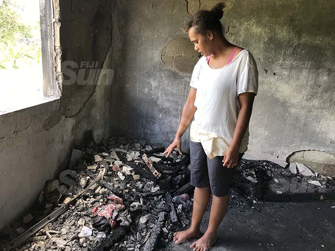 Sinu Heritage inside the burned flat at the Rara HART in Lajonia, Labasa on March 11,2021. Photo: Laisa Lui