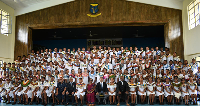 The Permanent Secretary for Education, Heritage and Arts Anjeela Jokhan(sitting/middle), with other guests and prefects of Natabua High School after the induction on March 5, 2021. Photo: Natabua High School
