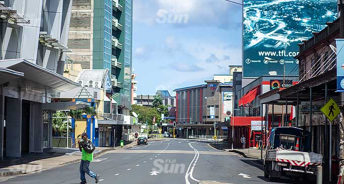 Empty Suva Central Business District on April 25, 2021. Photo: Leon Lord