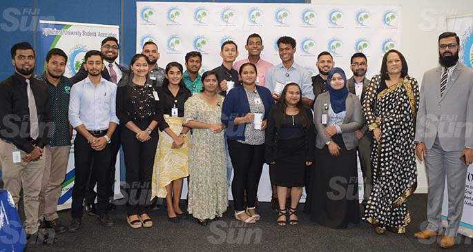 Minister for Education Rosy Akbar (second from right) with National University Students Association Council members at the Nasinu Campus on March 31, 2021. Photo: Ronald Kumar
