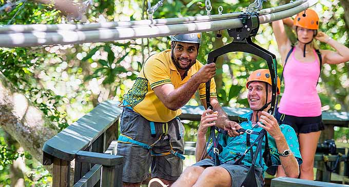 Guests enjoying ziplining at the Kula WILD Adventure Park.