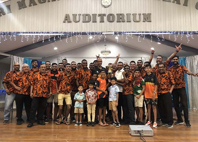 Lami Gujarati Sports Club officials, players, and their dedicated supporters celebrating the achievement during the 2021 Fiji Gujarati Sports Association's Interdistrict Competition last weekend. Photo: Supplied.