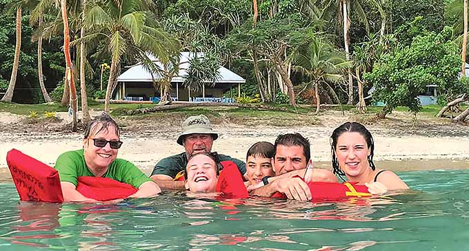 Jenny Brown (left) with her family and close friends at Yanuca Island.