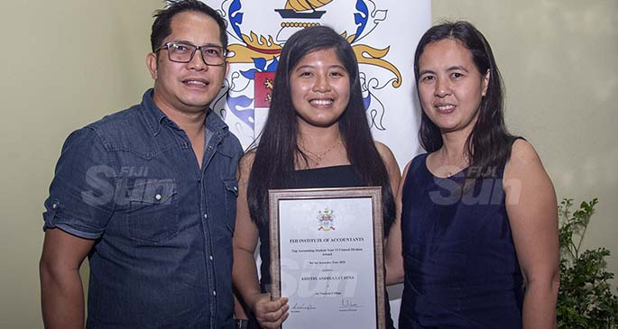 Kristel Andrea Lat Dena with her parents Jose Dena and Elsa Dena in Suva on April 9, 2021. Photo: Leon Lord