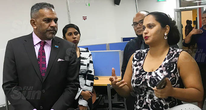 Minister for Commerce, Trade, Tourism and Transport Faiyaz Koya on tour at Packleader in Suva. Photo: Frederica Elbourne.