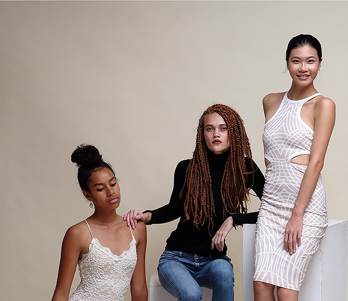 Phillipa Steele (middle) with two of the 10 new faces for Wearing Fiji -A Fashion Project, Maryanne Bulewa (left) and Priscilla Wu (right).