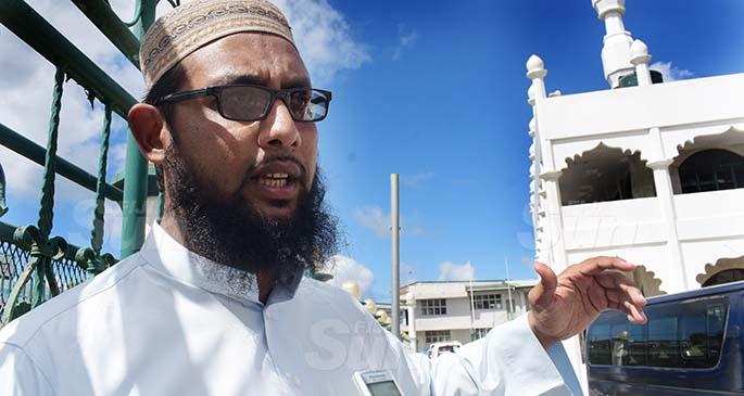 Samabula Jame Masjid Maulana Abdul Alim while speaking on importance of Ramadan on April 13, 2021. Photo: Ronald Kumar