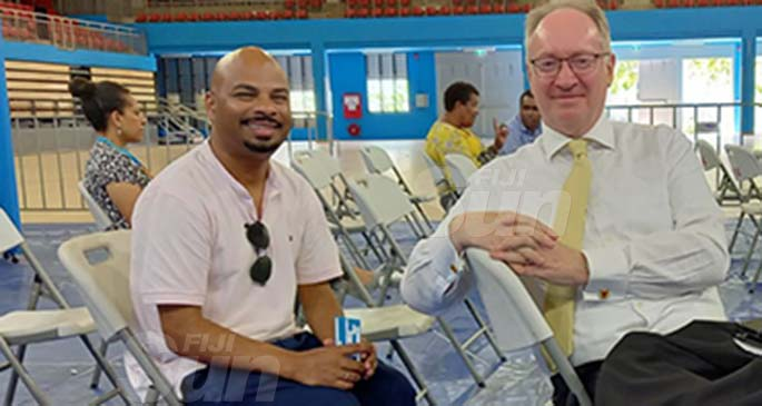 From left: Fiji Human Rights and Anti-Discrimination Commission director, Ashwin Raj and the Director of Public Prosecutions Christopher Pryde during the COVID-19 vaccination drive at the Vodafone Arena in Suva on April 13, 2021.