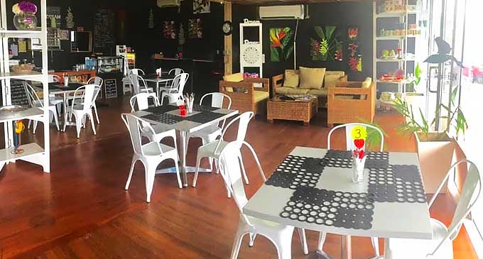 Set-up at Rhubarb cafe in Flagstaff, Suva.