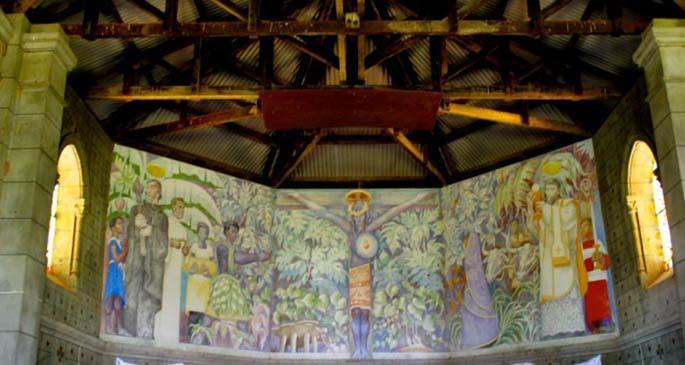 Charlot's Black Christ Mural in Church of St. Francis Xavier in Naserelagi Village in Ra . Photo: Suncoast Fiji