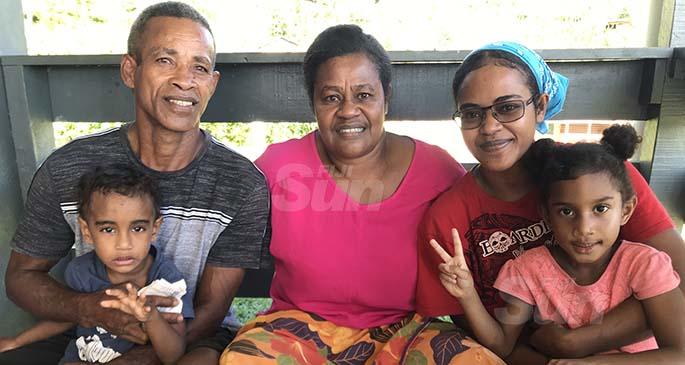 From left: Jona Kalepo holding his grandson, Junior Jona Kalepo, his wife Mareta Loaloa, daughter Ilisabeta Lawanuka with granddaughter on the lap, Seruwaia Loganimoce in Vunivau, Labasa on May 8, 2021. Photo: Shratika Naidu