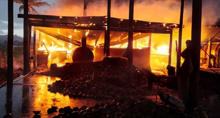 Fire Claims Copra Shed, Dryer