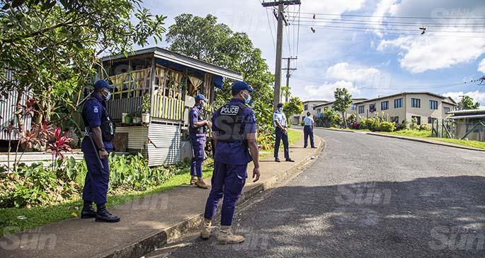 Heavy Police presence at Jittu Estate. Photo: Leon Lord