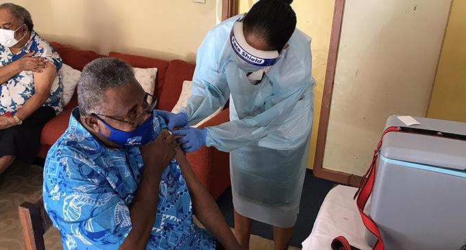General Secretary of the Methodist Church in Fiji Reverend Iliesa Naivalu receives his first shot of the AstraZeneca vaccines in Pender Street, Suva on June 11, 2021. Photo: Inoke Rabonu.
