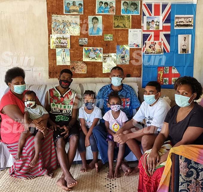 From left: Viniana Riwai's (mother) Marisela Riwai, (nephew) Carlson Riwai, (brother) Mitieli Riwai, (nieces) Abigail and Milika Riwai, Maika Riwai (father), Mosese Riwai (nephew) and Kereleani Riwai (sister) at their home in Nasekula village, Labasa on August 6, 2021. Photo: Sampras Anand