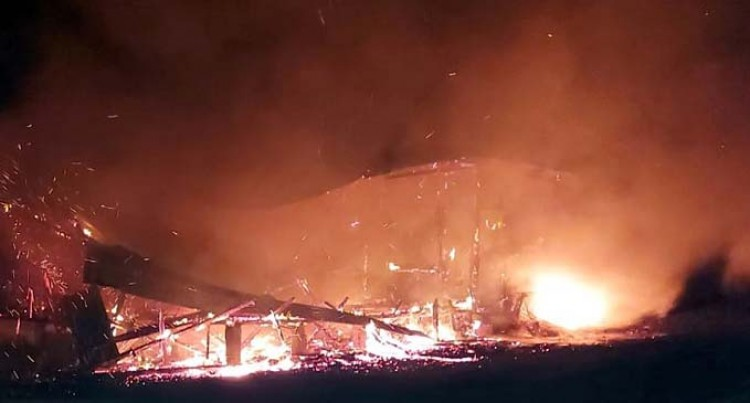 School Staff Quarters Completely Destroyed In A Fire Last Night