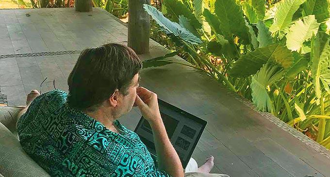 Businessman and career farmer Simon Cole on his veranda.