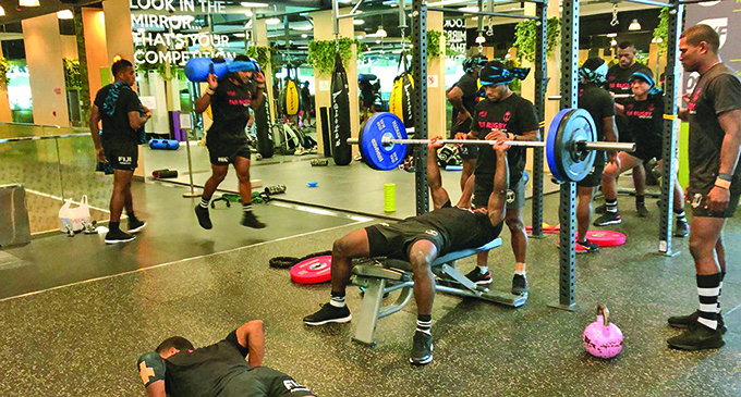 The Fijian 7s team during a gym session