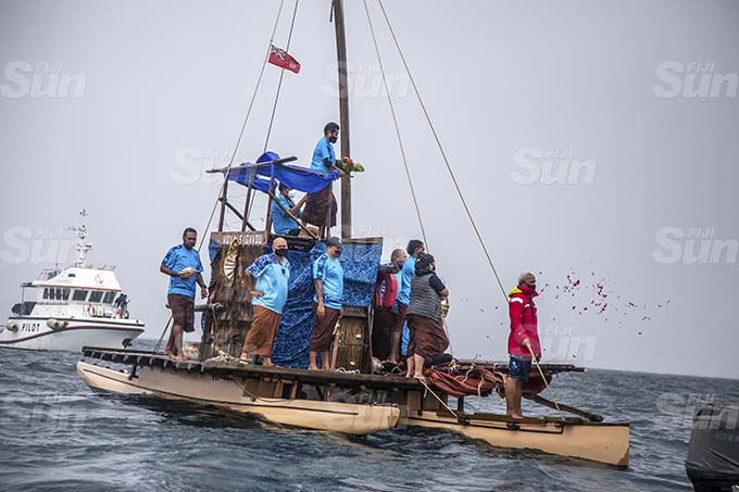 """Close members of the """"Uto Ni Yalo"""" crew followed the body of the late Captain Jonathan Smith during Captain Jonathan Smith's sea burial at the Suva Harbour on August 16 2021. Photo: Leon Lord"""