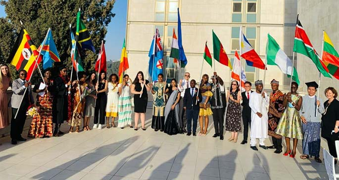 FLYING THE FIJIAN FLAG WITH PRIDE... Luse Buinimasi (holding the Fiji flag) with other graduates of the Master's Degree in Public Health programme from the Hebrew University of Jerusalem, Israel on September 2, 2021.