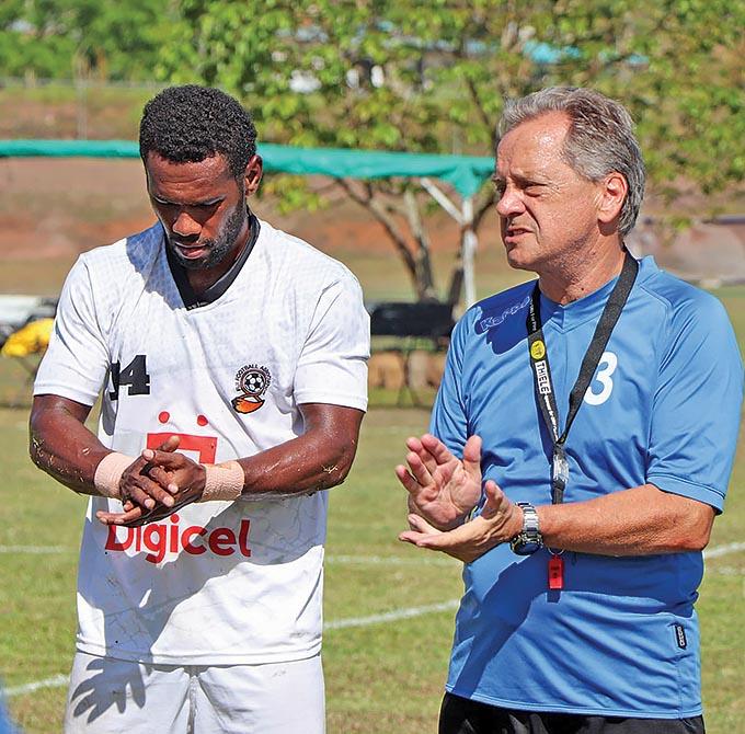 From left Digicel national football midfielder Dave Radrigai and head coach Flemming Serrtislev at the Fiji FA Academy in Ba on October 11, 2021. Photo: Fiji FA Media.